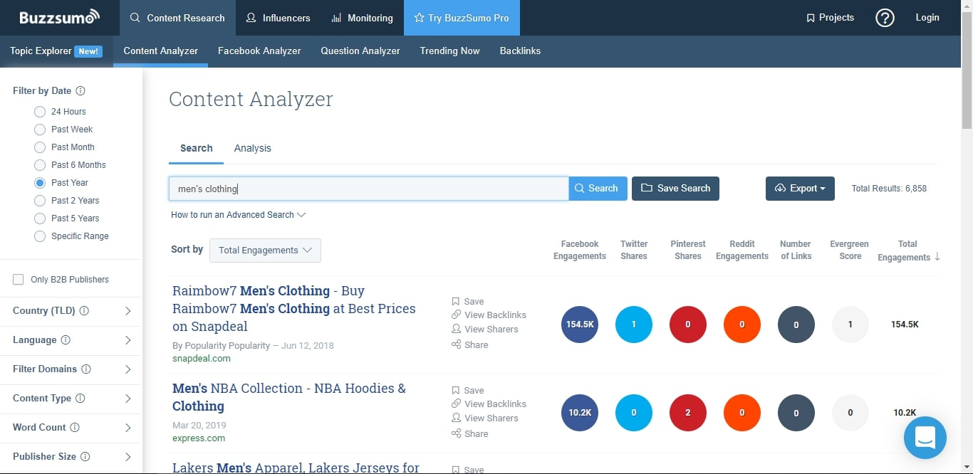 searching buzzsumo for dropshipping products