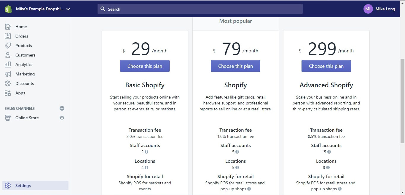Choosing your Shopify subscription plan