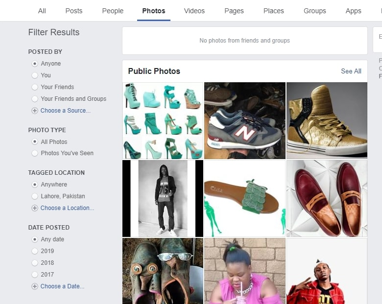 searching facebook photo listings for products to sell