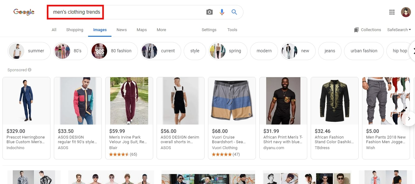 Google Images search for trending products