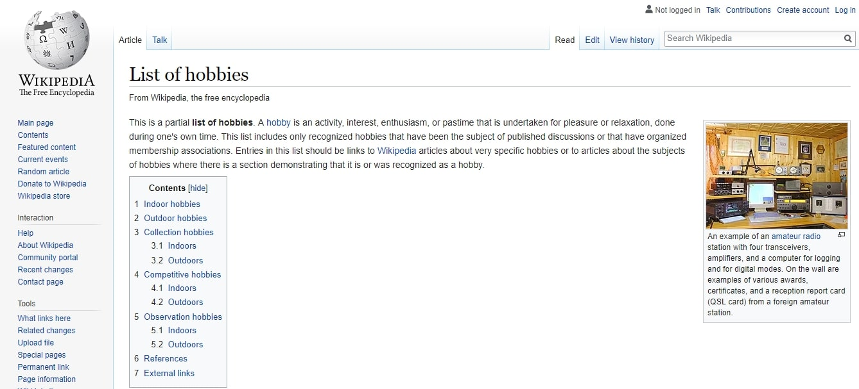 wikipediea hobbies