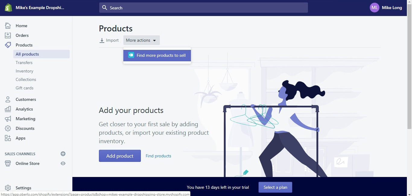 adding products using oberlo