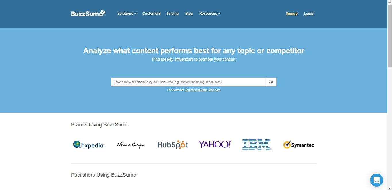 buzzsumo landing page for product research