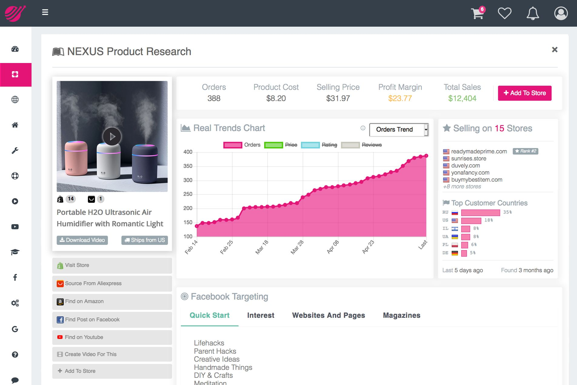 Real Winning Products Dropshipping A.I. NEXUS Research Machine