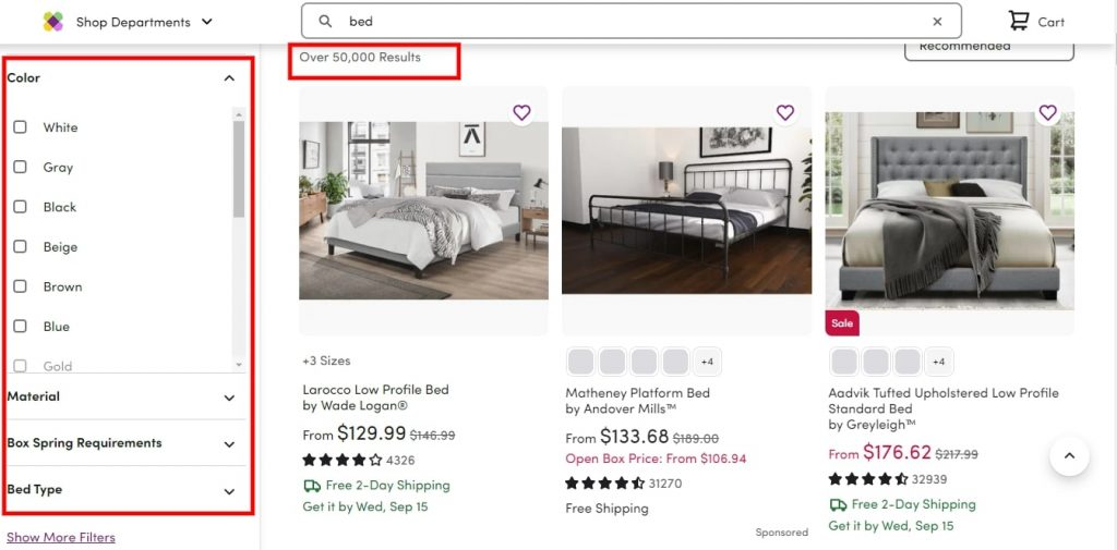 Wayfair Bed Search